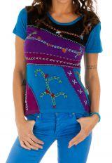 Tee-shirt femme imprimé ethnique et coloré Dessouk bleu 314211