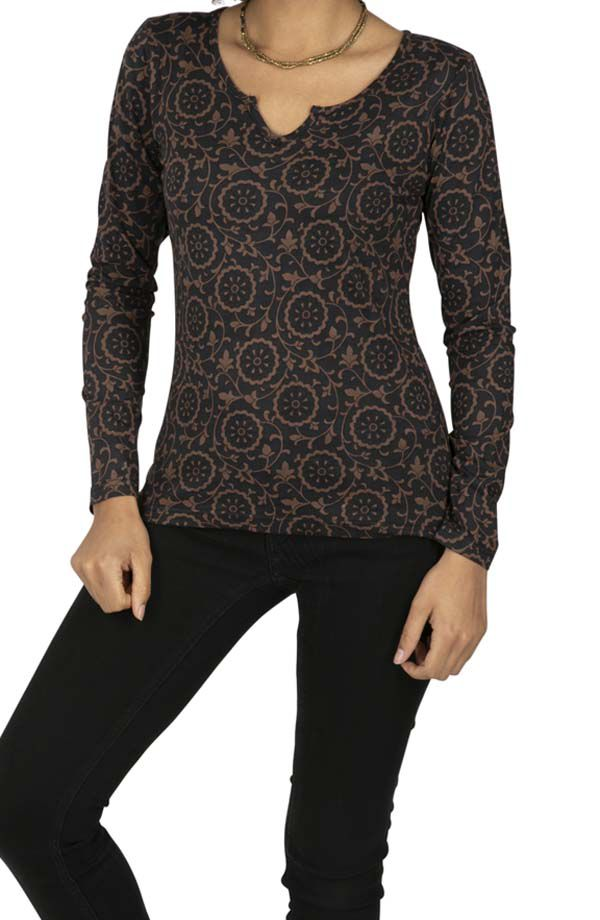 Tee-shirt femme noir imprimés à manches longues Madaoua