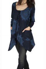 Tee-shirt femme original à la mode bleu marine Riobambal