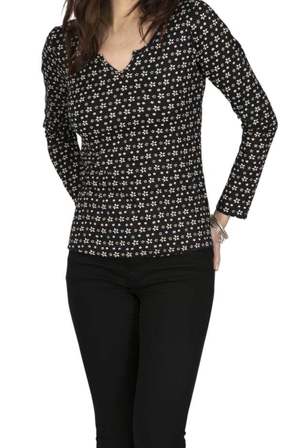 Tee-shirt femme original fleuri au col tunisien Maradi