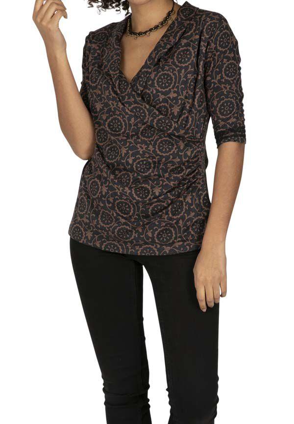 Tee-shirt femme original tendance au col en V Iganga