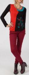 Tee-shirt femme rouge et noir à manches longues Mathild