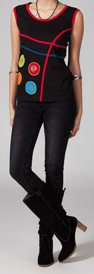 Tee-shirt femme sans manches col rond ethnique Marko 1 270634