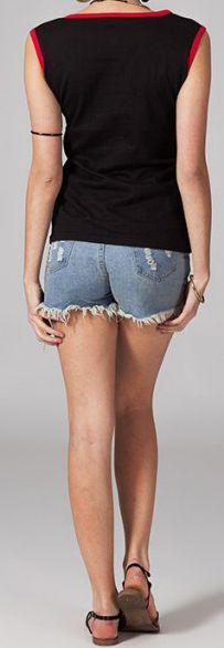 Tee-shirt femme sans manches col rond ethnique Marko 1 270635