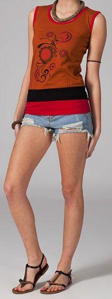 Tee-shirt femme sans manches col rond ethnique Marko 10 270673