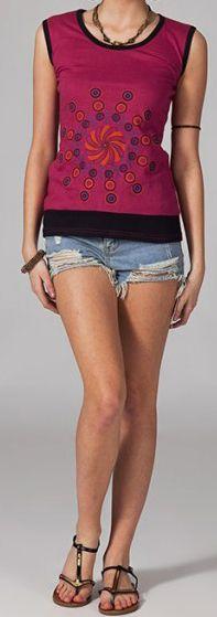 Tee-shirt femme sans manches col rond ethnique Marko 2 270637