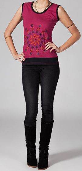 Tee-shirt femme sans manches col rond ethnique Marko 2 270638