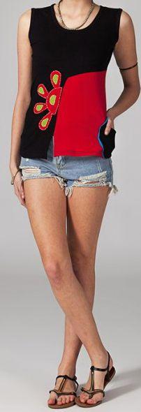 Tee-shirt femme sans manches col rond ethnique Marko 4 270646