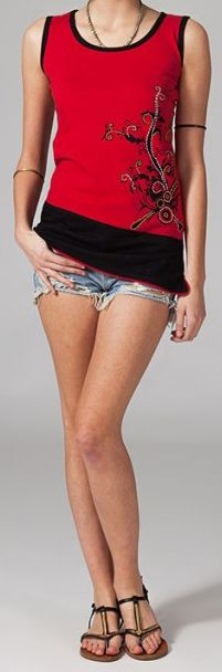 Tee-shirt femme sans manches col rond ethnique Marko 8 270665