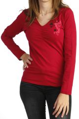 Tee-shirt fuchsia à manches longues original en jersey 287767