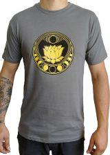 Tee-shirt Gris pour homme à tendance Zen Lotus et au col rond 297439