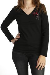 Tee-shirt noir à manches longues original en jersey 287761