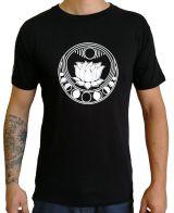 Tee-shirt noir pour homme à tendance Zen Lotus et au col rond 297255