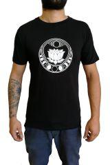 Tee-shirt noir pour homme à tendance Zen Lotus et au col rond 297256