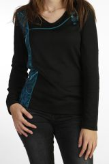tee-shirt original pour femme à col v et manches longues 287726