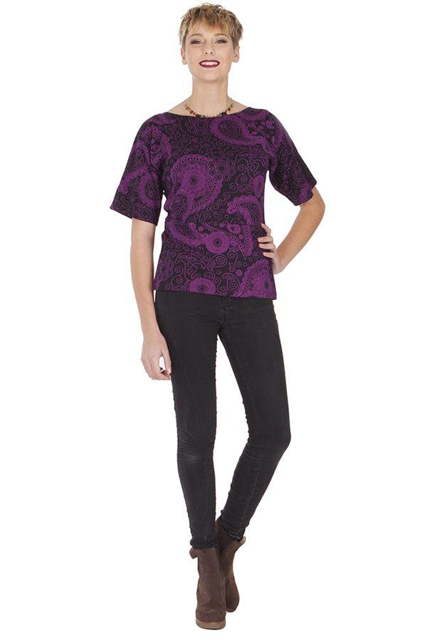 Tee shirt original pour femme imprimé à manches courtes Eglantine 285596