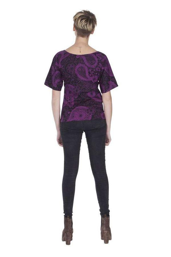 Tee shirt original pour femme imprimé à manches courtes Eglantine 285597