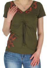 Tee-Shirt pour femme Ethnique et Original Massia Kaki 282391