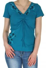 Tee-Shirt pour femme Original et Ethnique Massia Bleu 282385