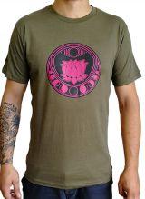 Tee-shirt pour homme Kaki/rose à tendance Zen Lotus et au col rond 297443