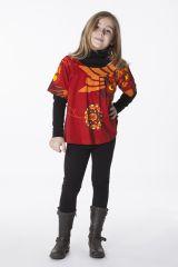 Top à col rond colorée pour petite fille rouge et orange 287527