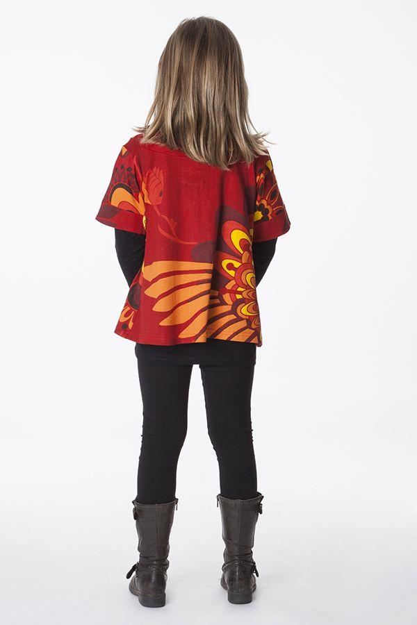 Top à col rond colorée pour petite fille rouge et orange 287528