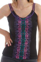 Top à fines bretelles bicolores et col V avec imprimés aztèque Noir Perdy 298005