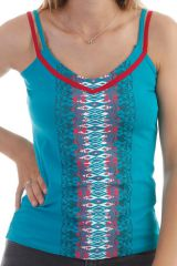 Top à fines bretelles bicolores et col V avec imprimés aztèque Pétrole Perdy 297975
