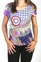 Top a manches courtes avec imprimés psychédéliques colorés Glory 291411