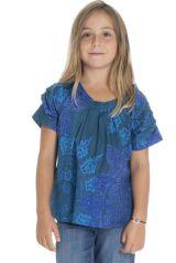 Top à manches courtes enfant original et imprimé bleu Nilambari 294035