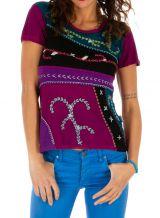 Top à manches courtes pour femme coloré Dessouk fushia 314205
