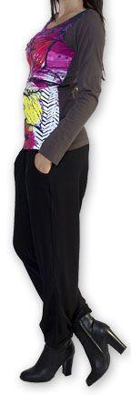 Top à manches longues Original et Coloré Pivoinne Gris 274492