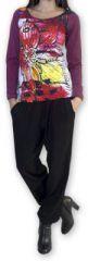 Top à manches longues Original et Coloré Pivoinne Violet 274481