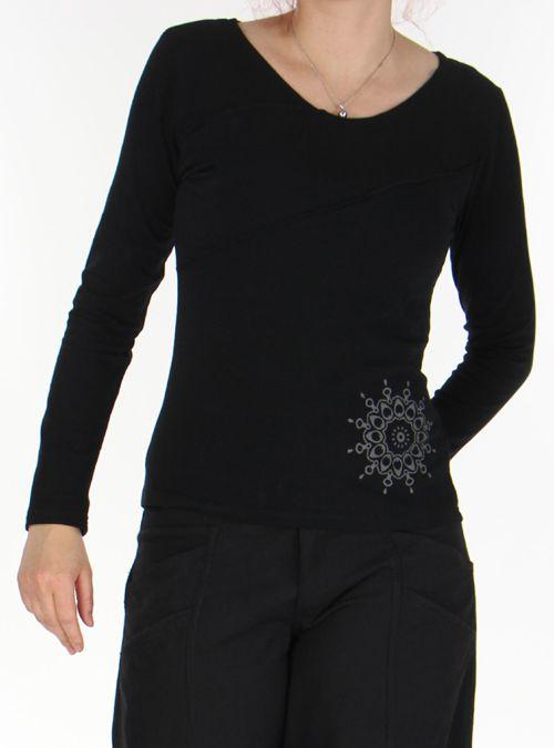 Top à manches longues Original et Coloré pour femme Spencer Noir 276307