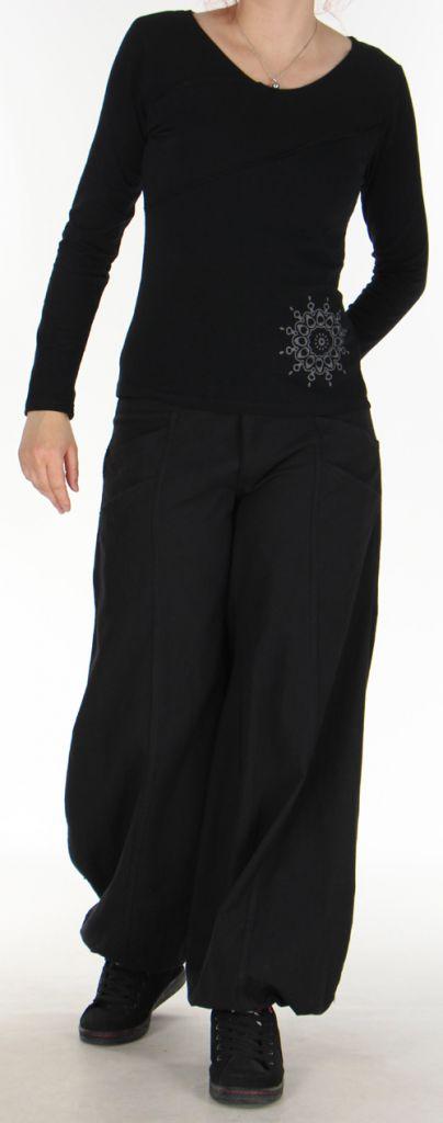Top à manches longues Original et Coloré pour femme Spencer Noir 276308