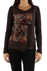 Top à manches longues original look bohème Willa marron 304512