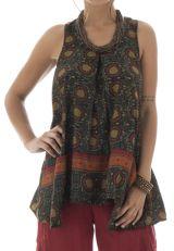 top ample coupe originale avec col rond et motifs ethniques Leah 292067