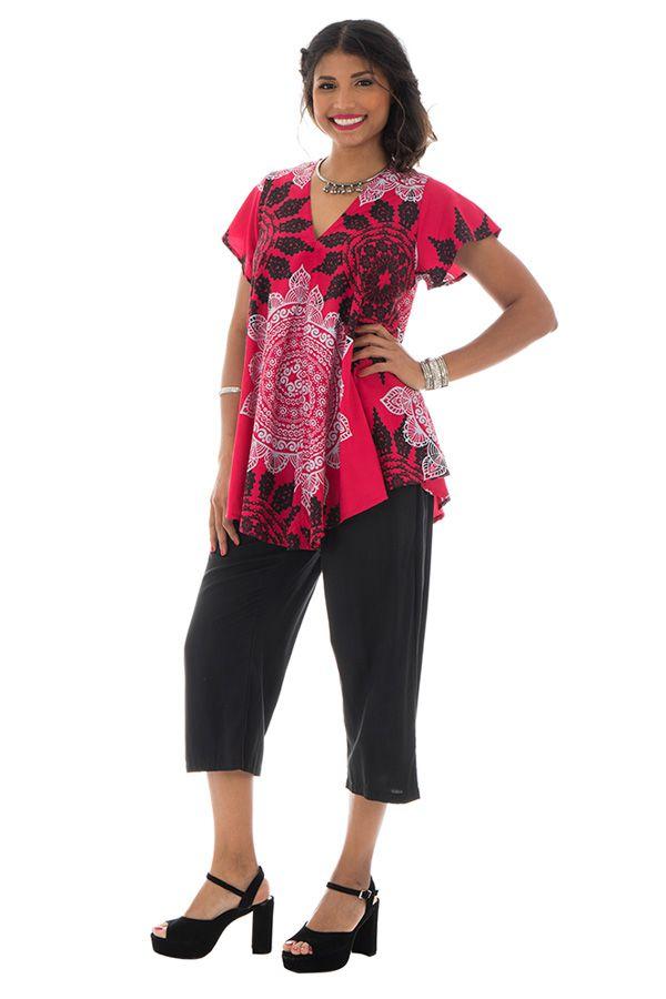 top ample manches kimono avec col en v et mandalas Caldew 290015