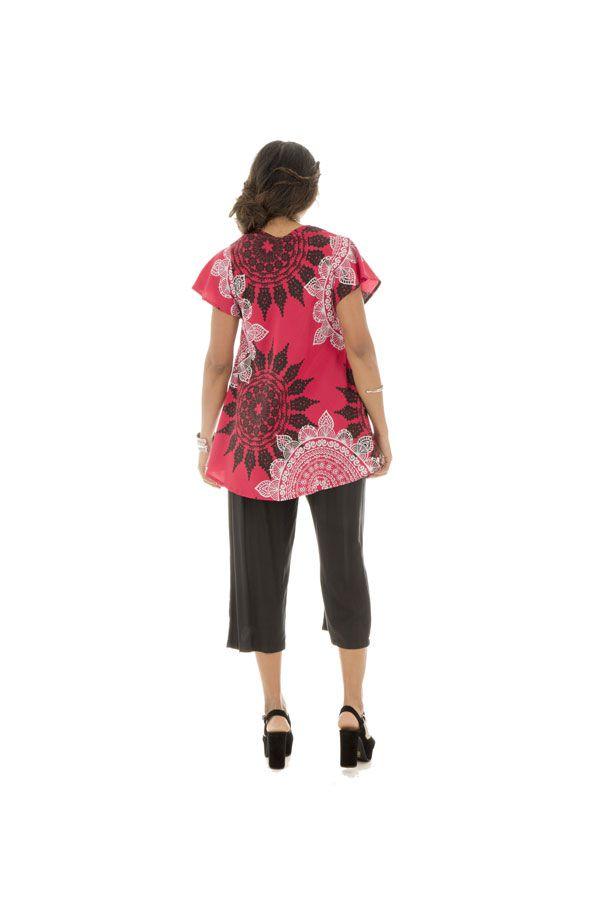 top ample manches kimono avec col en v et mandalas Caldew 290016