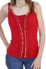 Top atypique avec bandes verticales à motifs rouge Maddie 293836