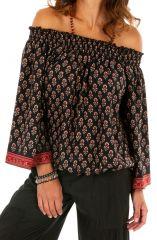 Top Bardot noir pour femme à manches longues Tripoli 314698