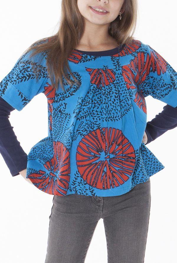 Top bleu à manches courtes avec un imprimé graphique 287529