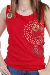 Top coloré et agreable à larges bretelles rouge Shirley 293981