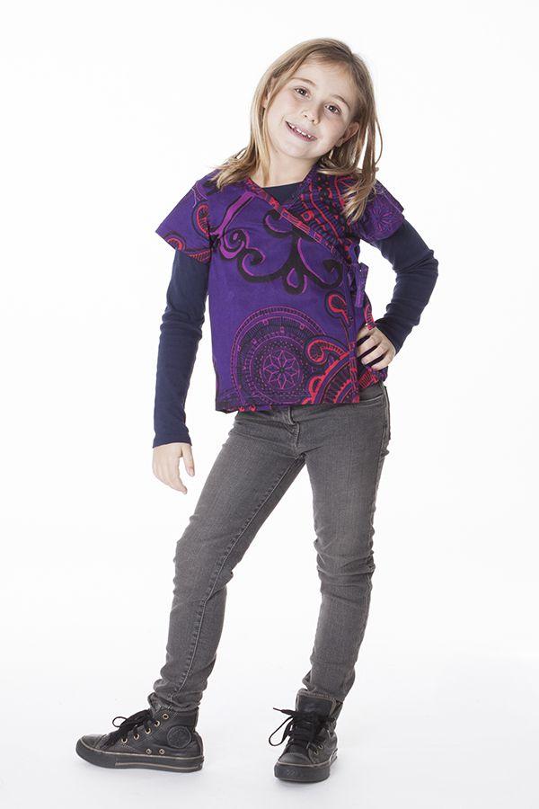 Top court violet avec un col cache coeur pour petite fille 287533