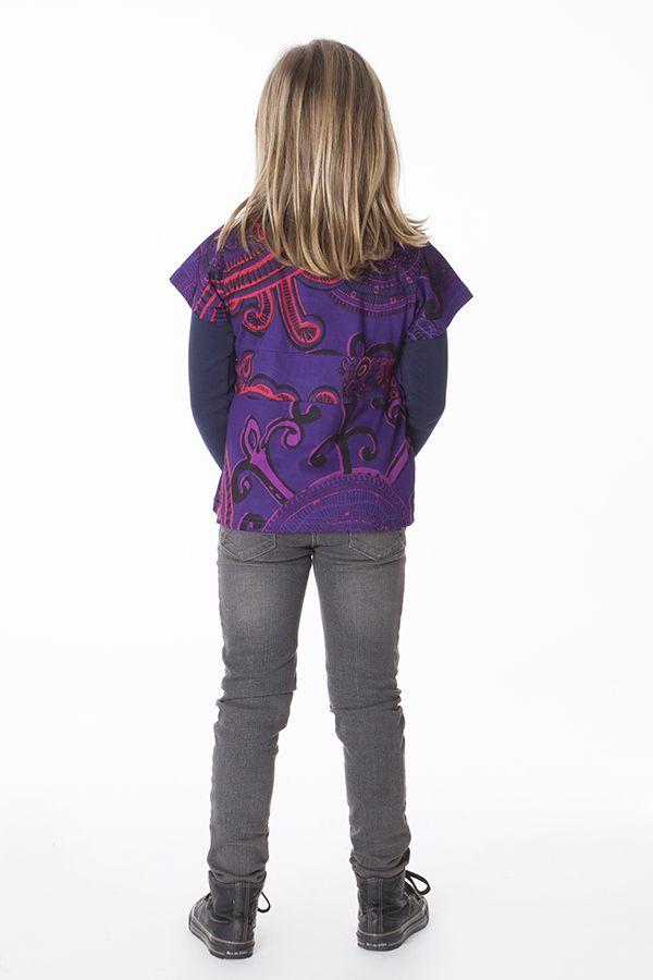Top court violet avec un col cache coeur pour petite fille 287534
