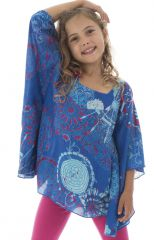 Top d'été enfant à manches amples Orignal et Imprimé Bleu Gatita 294039