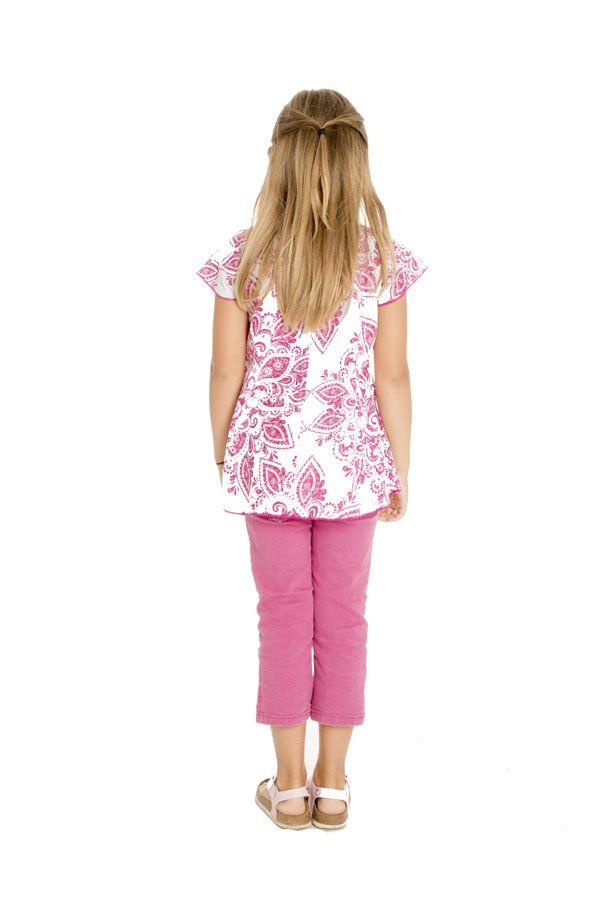Top d'été enfant à manches courtes Imprimé et Original Rose Ramba 291655
