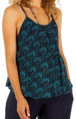 Top d'été femme sans manches look bohème Kindia bleu 314659