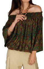 Top d'été pour femme au col Bardot et ethnique Tripoli vert 314707