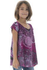 Top d'été pour fille à manches courtes Original Violet Amita 294040